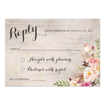 Small Floral Boho Wedding Rsvp Respond Invitationss Front View