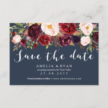 floral burgundy navy save the date invitationss