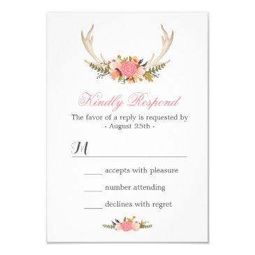 floral deer antler wedding rsvp reply