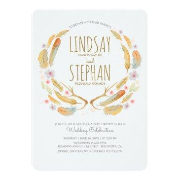 Small Floral Feathers Antlers Summer Woodland Wedding Invitation Front View