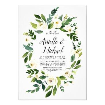 floral greenery ivory rehearsal dinner