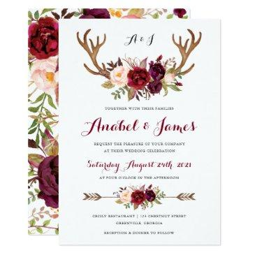 floral marsala antler boho wedding invitations
