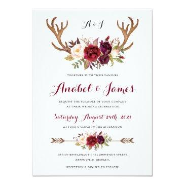 Small Floral Marsala Antler Boho Wedding Invitations Front View