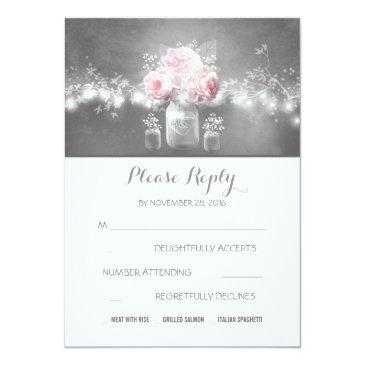 floral mason jar rustic string lights wedding rsvp