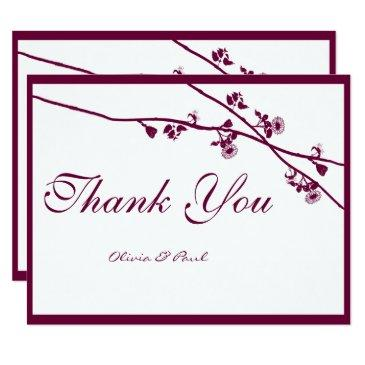 floral plum wildflower branches wedding thank you