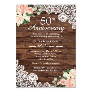 Small Floral Rustic Wood Lace 50th Wedding Anniversary Invitationss Front View