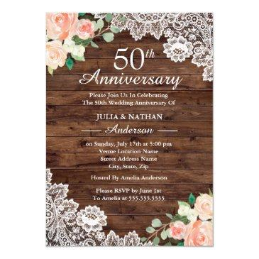 floral rustic wood lace 50th wedding anniversary
