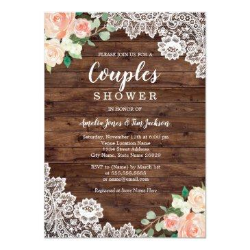 Small Floral Rustic Wood Lace Couples Wedding Shower Front View