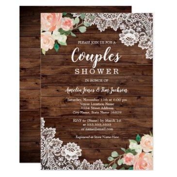 floral rustic wood lace couples wedding shower invitations
