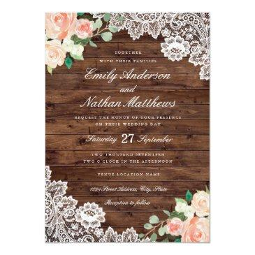 Small Floral Rustic Wood Lace Wedding Invitation Front View