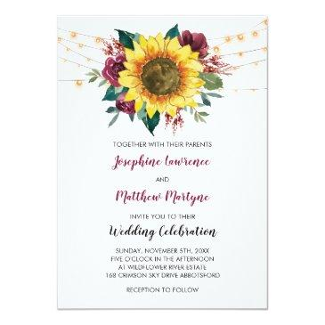 Small Floral Sunflower Burgundy Rose Lights Wedding Invitation Front View