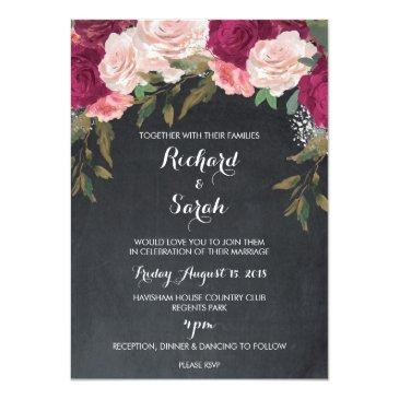 Small Floral Wedding Invitation Burgundy Chalkboard Front View