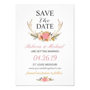 floral white antler boho wedding save the date