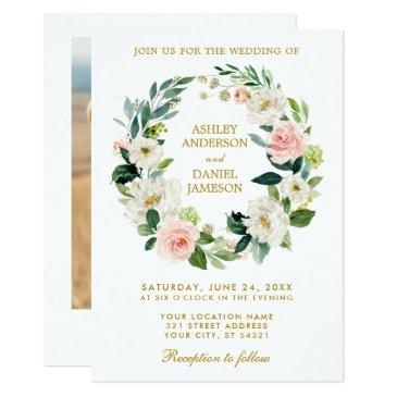 floral wreath pink white gold photo wedding invitation