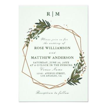 Small Floral Wreath Wedding Invitations Front View