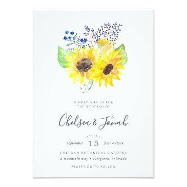 Small Flowerfields Bouquet Wedding Invitation Front View
