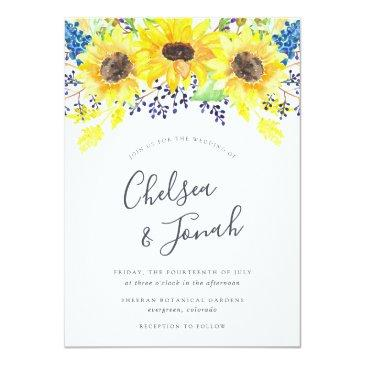 Small Flowerfields Wedding Invitation Front View