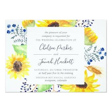 Small Flowerfields Wedding Invitation | Square Front View