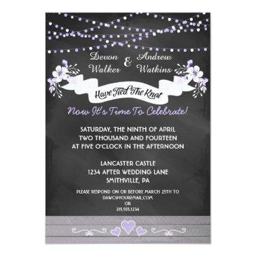 Small Flowers & Lights Chalkboard Post Wedding Invite Front View