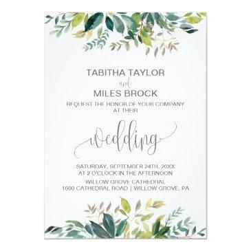 Small Foliage With Monogram Wreath Backing Wedding Invitationss Front View