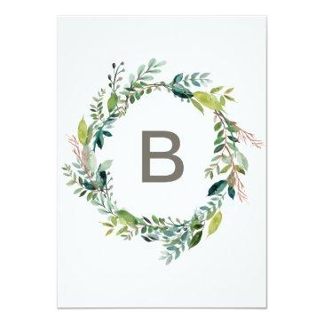 Small Foliage With Monogram Wreath Backing Wedding Invitationss Back View