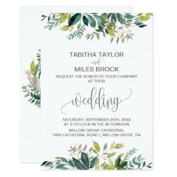 foliage with monogram wreath backing wedding invitations
