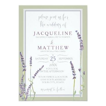 Small French Lavender Flowers Modern Typography Script Invitationss Front View