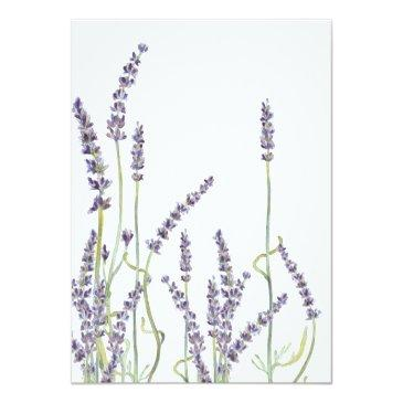 Small French Lavender Flowers Modern Typography Script Invitationss Back View