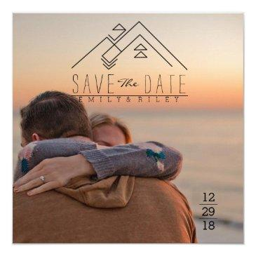 Small Geometric Mountian | Bohemian Save The Date Invitationss Front View