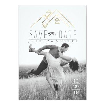 Small Geometric Mountian | Gold Save The Date Photo Invitationss Front View