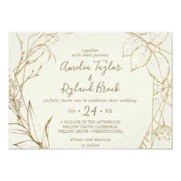 Small Gilded Floral | Cream And Gold All In One Wedding Invitation Front View
