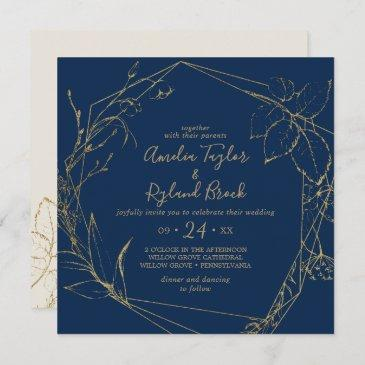 gilded floral | navy and gold all in one wedding invitation
