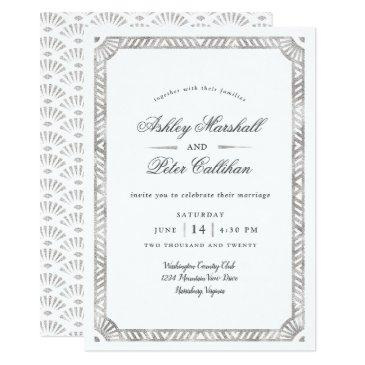 glam deco border wedding invitations
