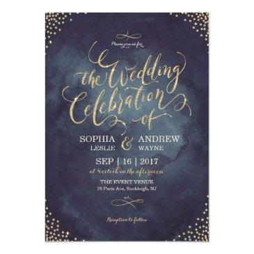 glam night faux gold glitter calligraphy wedding