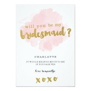 gold and blush will you be my bridesmaid?