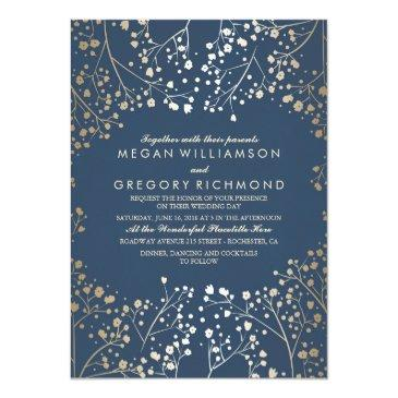 gold and navy baby's breath floral modern