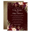 gold confetti burgundy floral wedding invitations