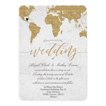 gold foil world map destination wedding