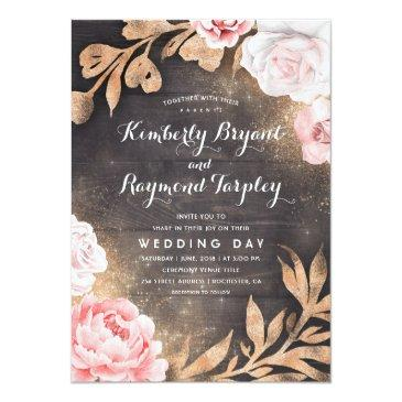 Small Gold Glitter | Rustic Country Floral Wedding Invitationss Front View