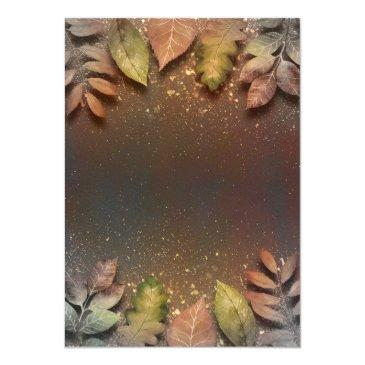 Small Gold Glitter Vintage Fall Leaves Wedding Back View