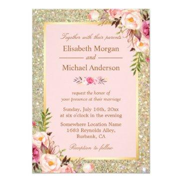 gold glitters blush pink floral wedding
