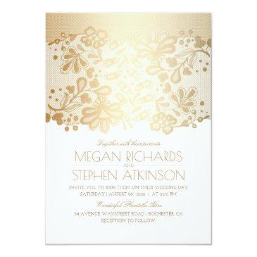 Small Gold Lace Elegant Vintage White Wedding Invitation Front View