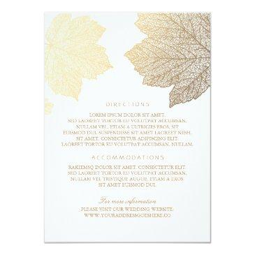 gold leaves white wedding details - information