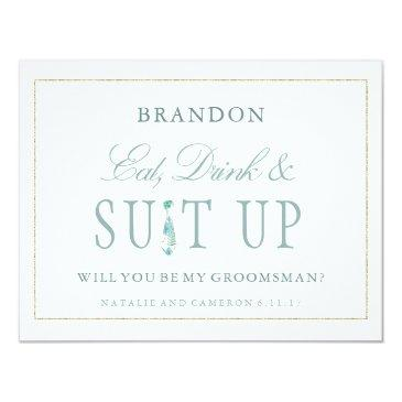 gold mint floral watercolor groomsmen