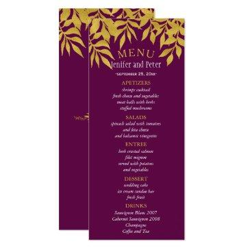 gold purple fall laurel leaves wedding menu