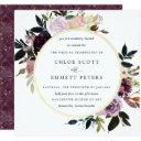 gold purple mauve pink floral wedding invitation