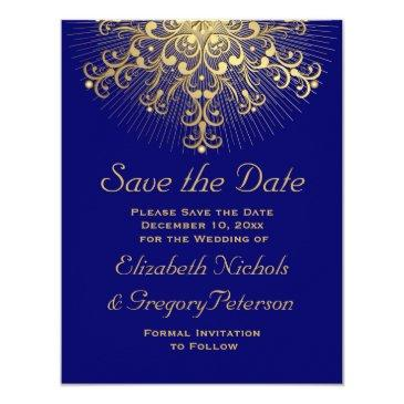 gold snowflake blue winter wedding save the date