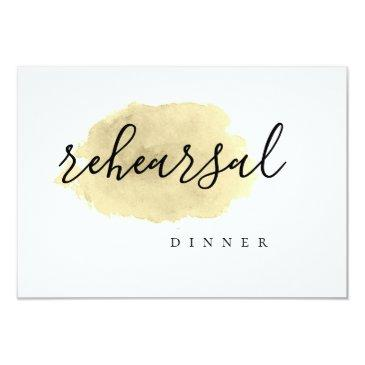 gold watercolor rehearsal dinner