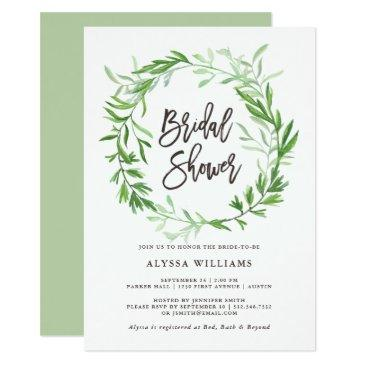 green botanical leaves wreath bridal shower