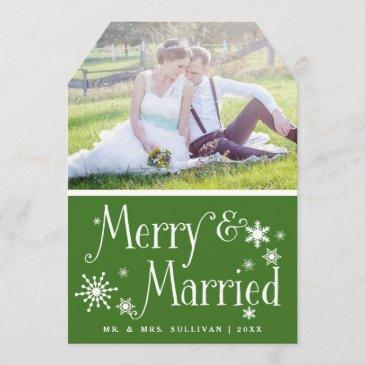 green merry & married holiday photo flat